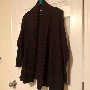 Athleta • EUC • Black cabled drape cardigan